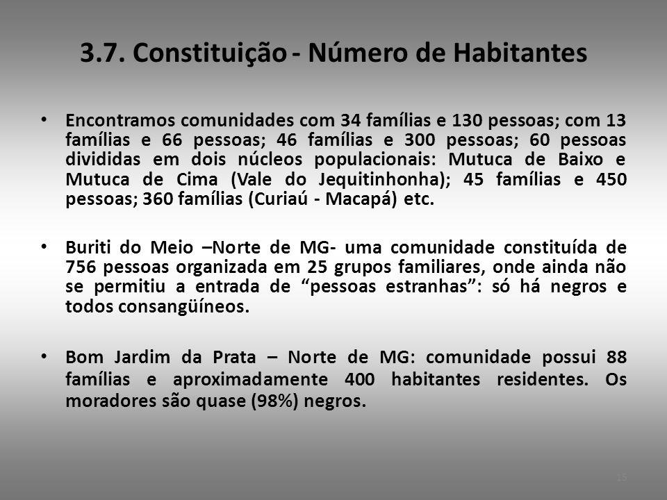 3.7. Constituição - Número de Habitantes • Encontramos comunidades com 34 famílias e 130 pessoas; com 13 famílias e 66 pessoas; 46 famílias e 300 pess