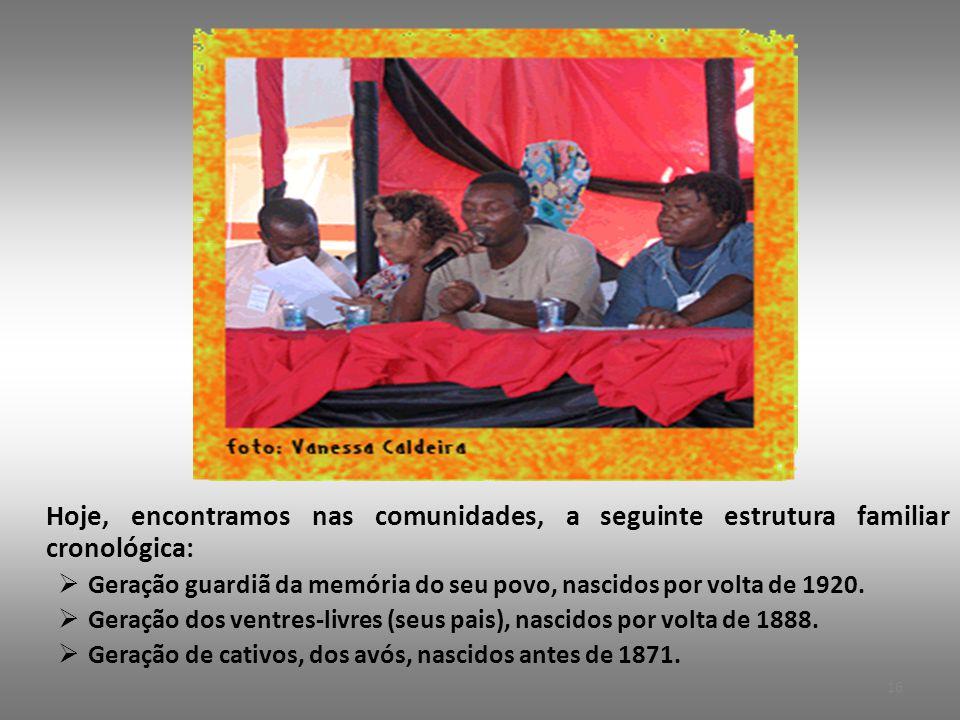 Hoje, encontramos nas comunidades, a seguinte estrutura familiar cronológica:  Geração guardiã da memória do seu povo, nascidos por volta de 1920.