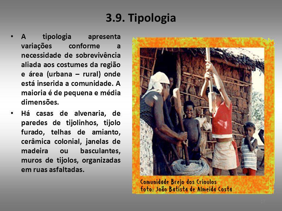 3.9. Tipologia • A tipologia apresenta variações conforme a necessidade de sobrevivência aliada aos costumes da região e área (urbana – rural) onde es
