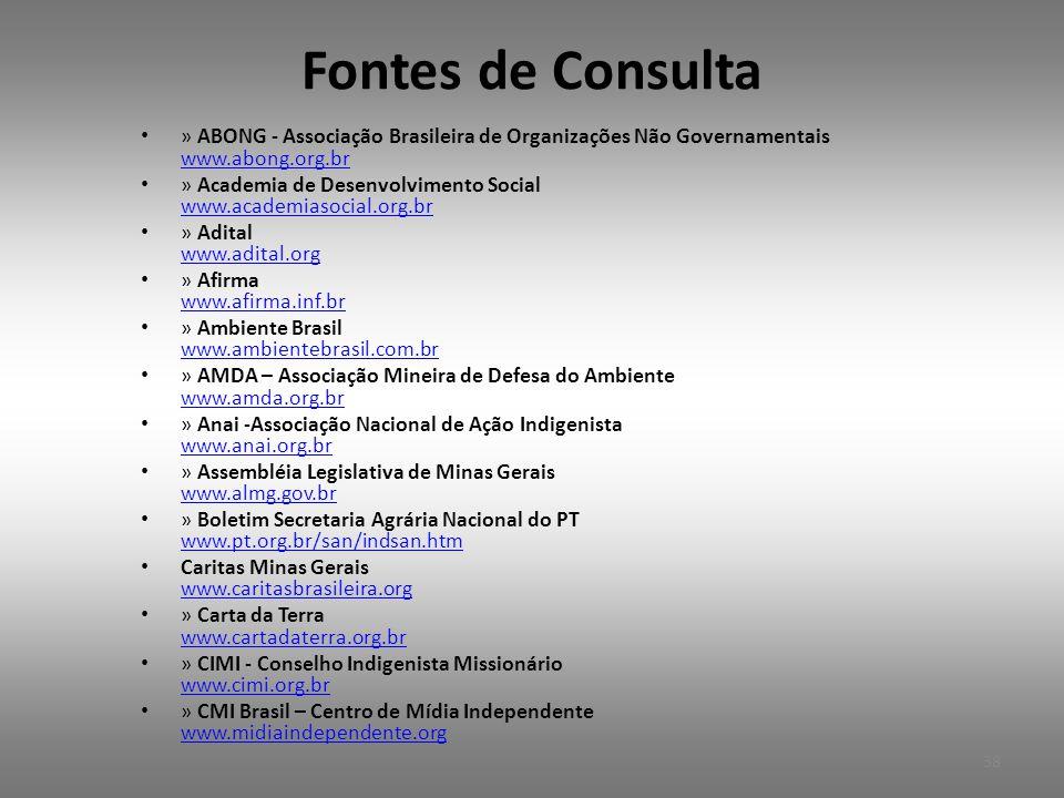 Fontes de Consulta • » ABONG - Associação Brasileira de Organizações Não Governamentais www.abong.org.br www.abong.org.br • » Academia de Desenvolvimento Social www.academiasocial.org.br www.academiasocial.org.br • » Adital www.adital.org www.adital.org • » Afirma www.afirma.inf.br www.afirma.inf.br • » Ambiente Brasil www.ambientebrasil.com.br www.ambientebrasil.com.br • » AMDA – Associação Mineira de Defesa do Ambiente www.amda.org.br www.amda.org.br • » Anai -Associação Nacional de Ação Indigenista www.anai.org.br www.anai.org.br • » Assembléia Legislativa de Minas Gerais www.almg.gov.br www.almg.gov.br • » Boletim Secretaria Agrária Nacional do PT www.pt.org.br/san/indsan.htm www.pt.org.br/san/indsan.htm • Caritas Minas Gerais www.caritasbrasileira.org www.caritasbrasileira.org • » Carta da Terra www.cartadaterra.org.br www.cartadaterra.org.br • » CIMI - Conselho Indigenista Missionário www.cimi.org.br www.cimi.org.br • » CMI Brasil – Centro de Mídia Independente www.midiaindependente.org www.midiaindependente.org 38