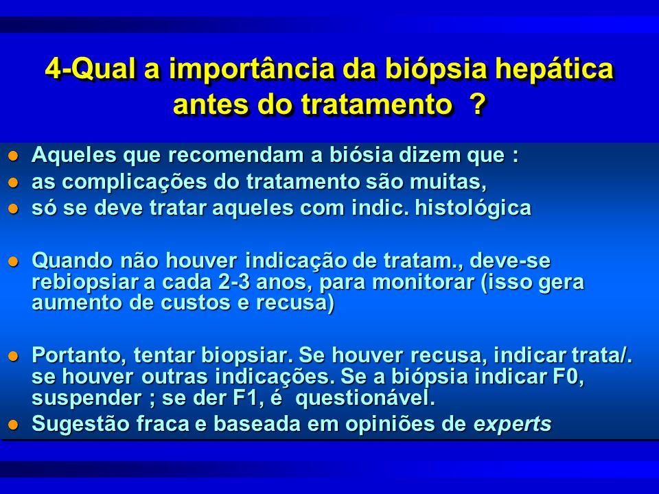 4-Qual a importância da biópsia hepática antes do tratamento ? l Aqueles que recomendam a biósia dizem que : l as complicações do tratamento são muita