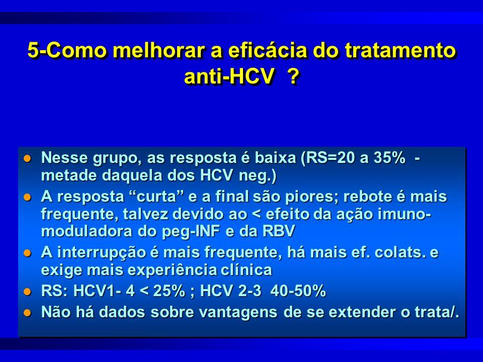 """5-Como melhorar a eficácia do tratamento anti-HCV ? l Nesse grupo, as resposta é baixa (RS=20 a 35% - metade daquela dos HCV neg.) l A resposta """"curta"""