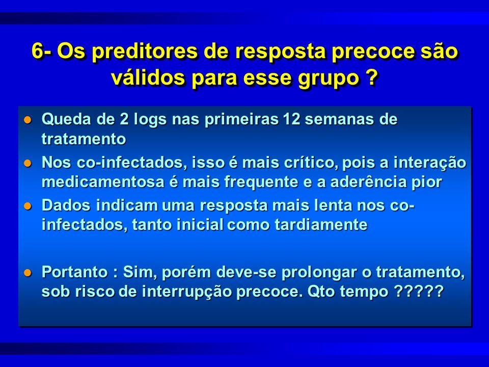 6- Os preditores de resposta precoce são válidos para esse grupo ? l Queda de 2 logs nas primeiras 12 semanas de tratamento l Nos co-infectados, isso