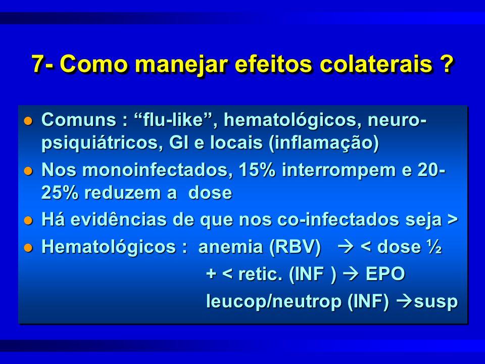 """7- Como manejar efeitos colaterais ? l Comuns : """"flu-like"""", hematológicos, neuro- psiquiátricos, GI e locais (inflamação) l Nos monoinfectados, 15% in"""