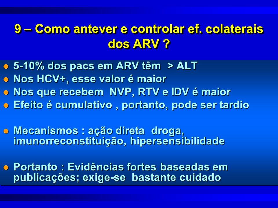 9 – Como antever e controlar ef. colaterais dos ARV ? l 5-10% dos pacs em ARV têm > ALT l Nos HCV+, esse valor é maior l Nos que recebem NVP, RTV e ID
