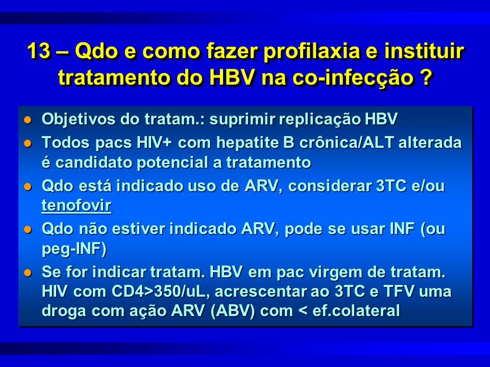 13 – Qdo e como fazer profilaxia e instituir tratamento do HBV na co-infecção ? l Objetivos do tratam.: suprimir replicação HBV l Todos pacs HIV+ com
