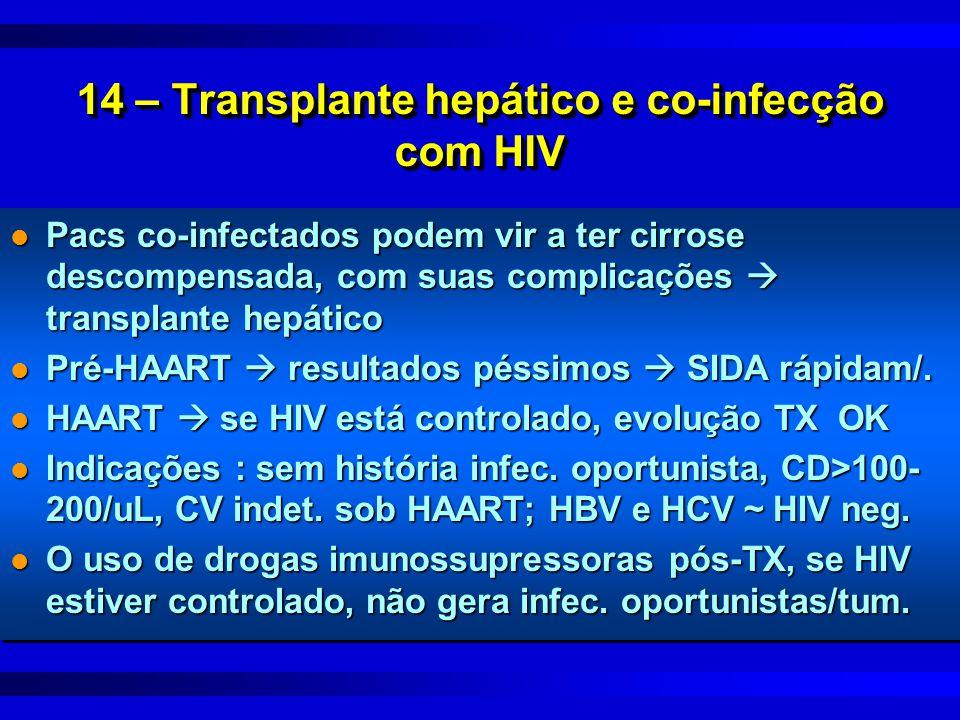 14 – Transplante hepático e co-infecção com HIV l Pacs co-infectados podem vir a ter cirrose descompensada, com suas complicações  transplante hepáti