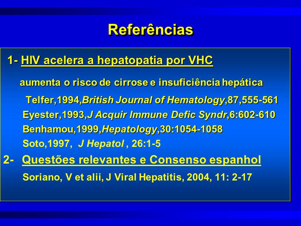 ReferênciasReferências 1- HIV acelera a hepatopatia por VHC 1- HIV acelera a hepatopatia por VHC aumenta o risco de cirrose e insuficiência hepática a