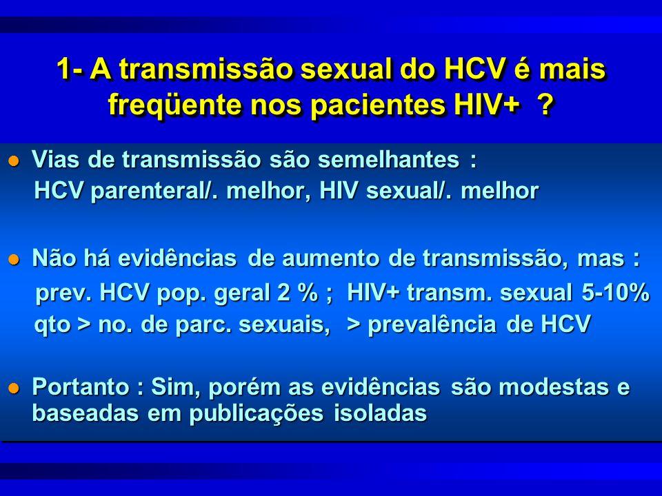 1- A transmissão sexual do HCV é mais freqüente nos pacientes HIV+ ? l Vias de transmissão são semelhantes : HCV parenteral/. melhor, HIV sexual/. mel