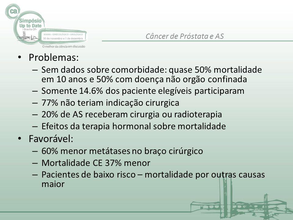 • Problemas: – Sem dados sobre comorbidade: quase 50% mortalidade em 10 anos e 50% com doença não orgão confinada – Somente 14.6% dos paciente elegíve