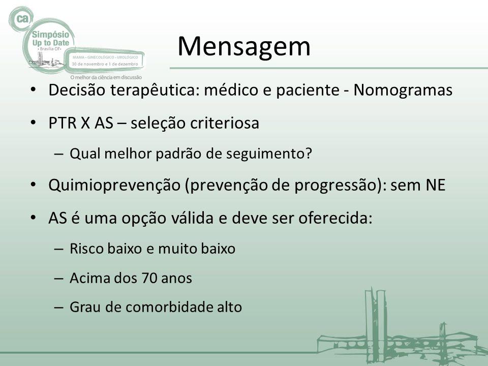 Mensagem • Decisão terapêutica: médico e paciente - Nomogramas • PTR X AS – seleção criteriosa – Qual melhor padrão de seguimento? • Quimioprevenção (