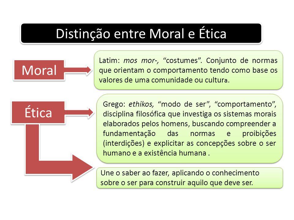 """Distinção entre Moral e Ética Moral Latim: mos mor-, """"costumes"""". Conjunto de normas que orientam o comportamento tendo como base os valores de uma com"""