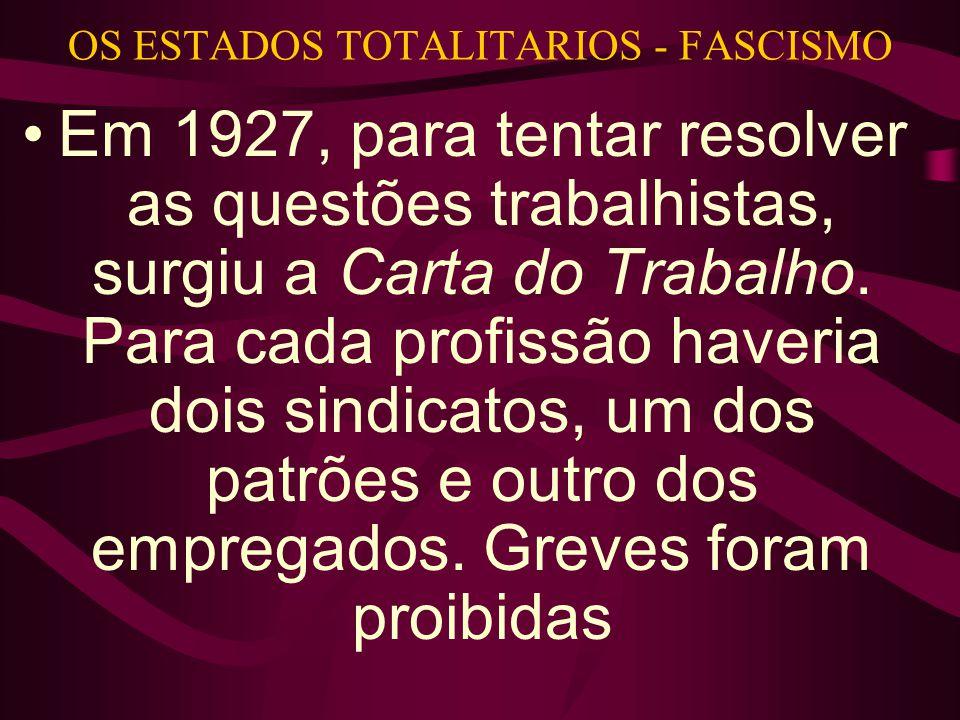 OS ESTADOS TOTALITARIOS - FASCISMO •Em 1927, para tentar resolver as questões trabalhistas, surgiu a Carta do Trabalho.