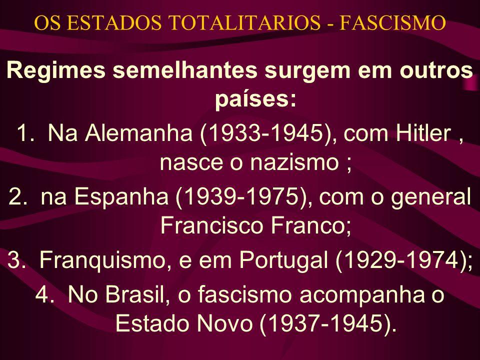 OS ESTADOS TOTALITARIOS - FASCISMO Regimes semelhantes surgem em outros países: 1.Na Alemanha (1933-1945), com Hitler, nasce o nazismo ; 2.na Espanha (1939-1975), com o general Francisco Franco; 3.Franquismo, e em Portugal (1929-1974); 4.No Brasil, o fascismo acompanha o Estado Novo (1937-1945).