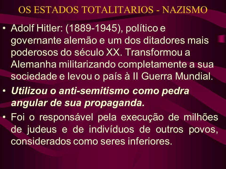 OS ESTADOS TOTALITARIOS - NAZISMO •Adolf Hitler: (1889-1945), político e governante alemão e um dos ditadores mais poderosos do século XX. Transformou