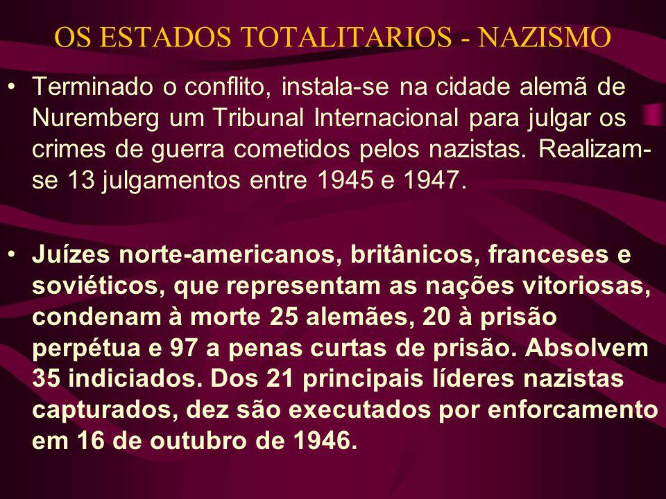OS ESTADOS TOTALITARIOS - NAZISMO •Terminado o conflito, instala-se na cidade alemã de Nuremberg um Tribunal Internacional para julgar os crimes de guerra cometidos pelos nazistas.