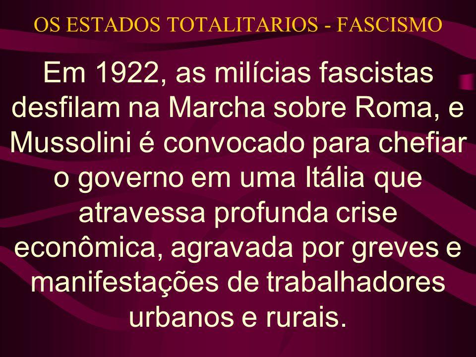 OS ESTADOS TOTALITARIOS - FASCISMO Em 1922, as milícias fascistas desfilam na Marcha sobre Roma, e Mussolini é convocado para chefiar o governo em uma Itália que atravessa profunda crise econômica, agravada por greves e manifestações de trabalhadores urbanos e rurais.