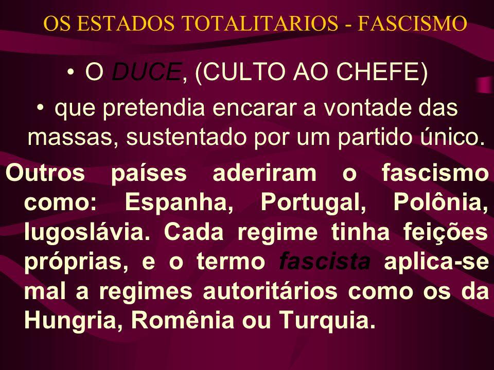 OS ESTADOS TOTALITARIOS - FASCISMO •O DUCE, (CULTO AO CHEFE) •que pretendia encarar a vontade das massas, sustentado por um partido único. Outros país