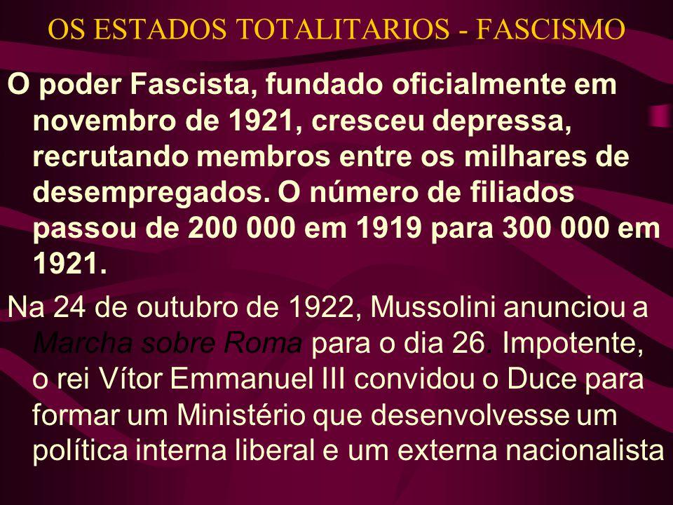 OS ESTADOS TOTALITARIOS - FASCISMO O poder Fascista, fundado oficialmente em novembro de 1921, cresceu depressa, recrutando membros entre os milhares de desempregados.