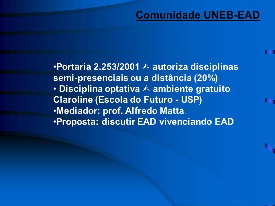 •Portaria 2.253/2001  autoriza disciplinas semi-presenciais ou a distância (20%) • Disciplina optativa  ambiente gratuito Claroline (Escola do Futuro - USP) •Mediador: prof.