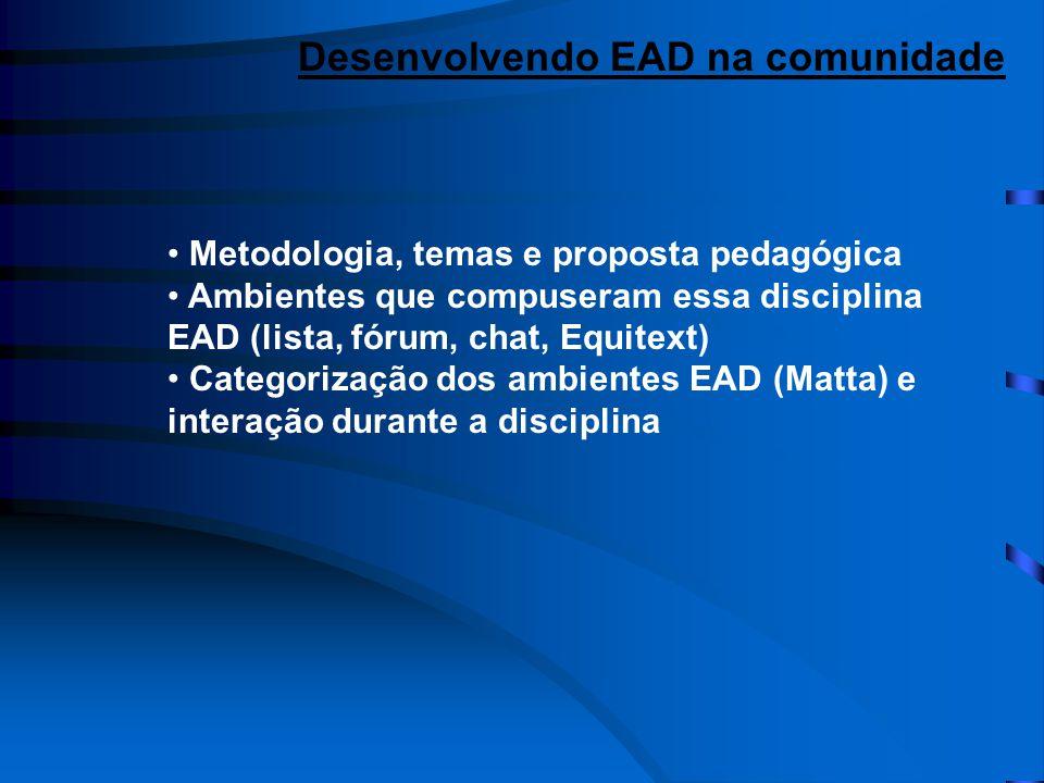 • Metodologia, temas e proposta pedagógica • Ambientes que compuseram essa disciplina EAD (lista, fórum, chat, Equitext) • Categorização dos ambientes EAD (Matta) e interação durante a disciplina Desenvolvendo EAD na comunidade