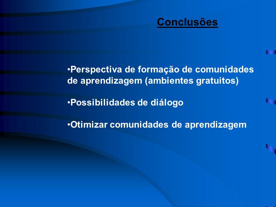 •Perspectiva de formação de comunidades de aprendizagem (ambientes gratuitos) •Possibilidades de diálogo •Otimizar comunidades de aprendizagem Conclusões