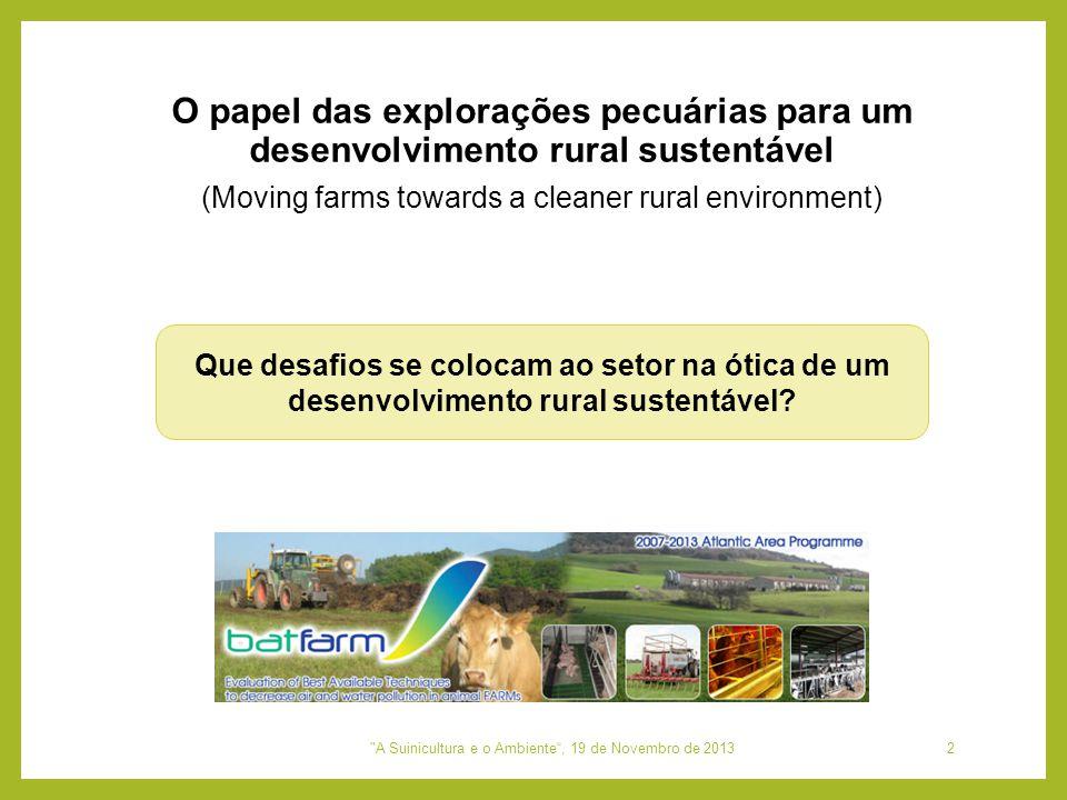 (Moving farms towards a cleaner rural environment) Que desafios se colocam ao setor na ótica de um desenvolvimento rural sustentável? O papel das expl