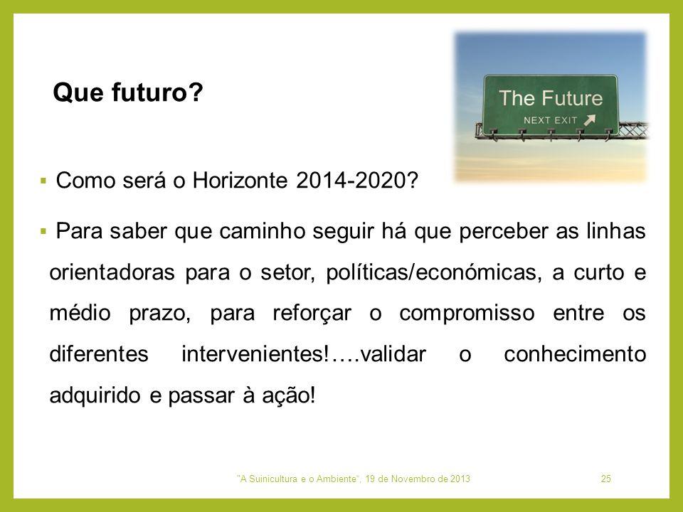  Como será o Horizonte 2014-2020?  Para saber que caminho seguir há que perceber as linhas orientadoras para o setor, políticas/económicas, a curto