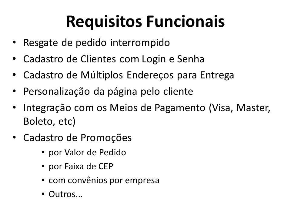 Requisitos Funcionais • Resgate de pedido interrompido • Cadastro de Clientes com Login e Senha • Cadastro de Múltiplos Endereços para Entrega • Perso