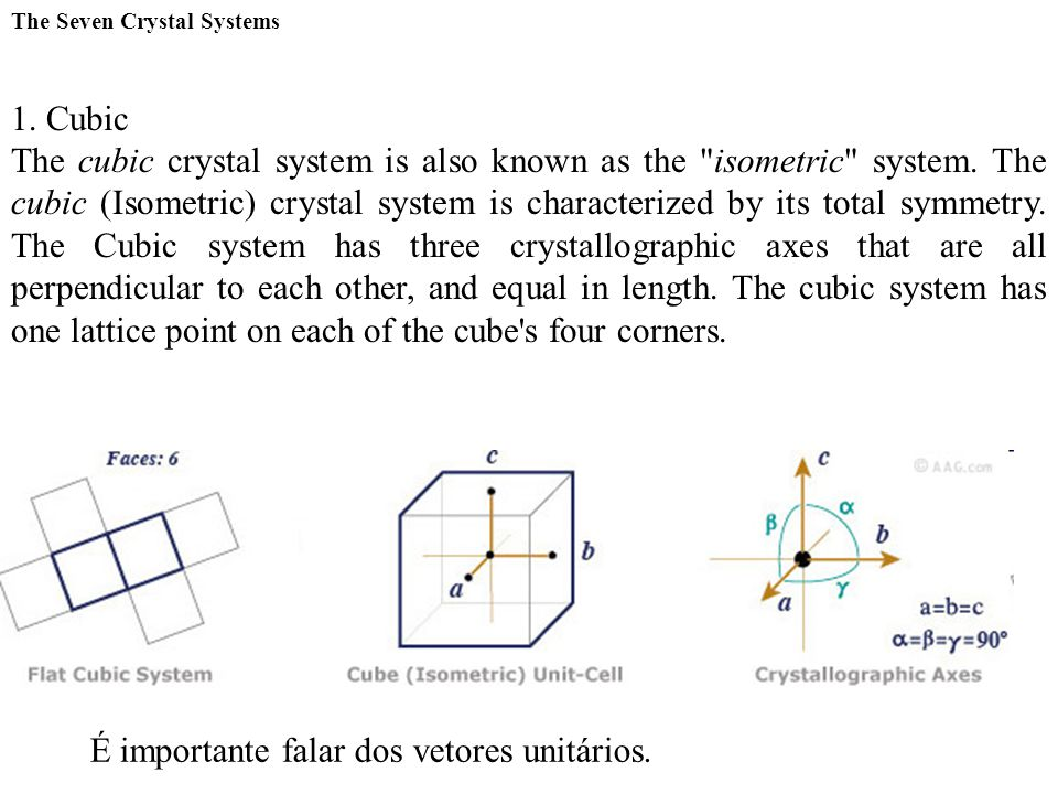 The Seven Crystal Systems 1. Cubic The cubic crystal system is also known as the
