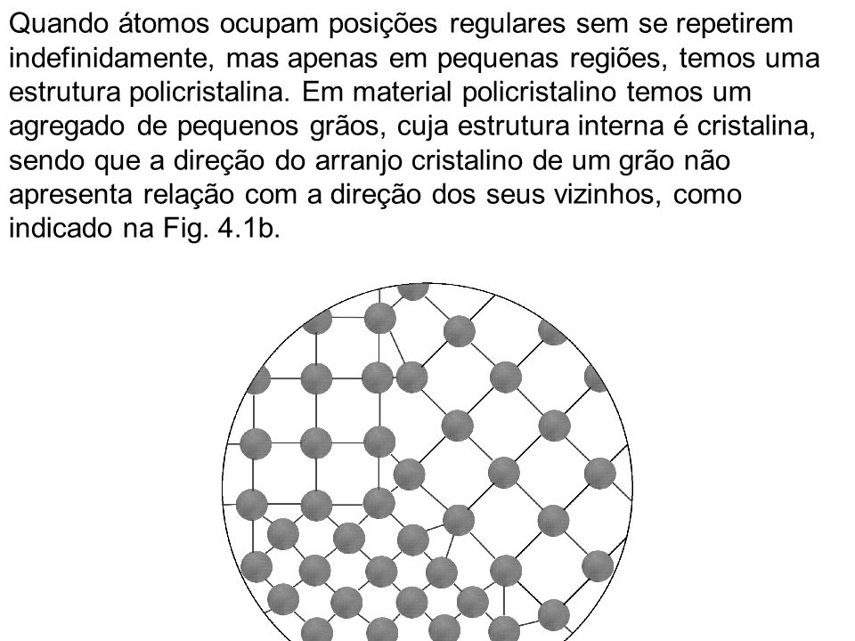 Quando átomos ocupam posições regulares sem se repetirem indefinidamente, mas apenas em pequenas regiões, temos uma estrutura policristalina. Em mater