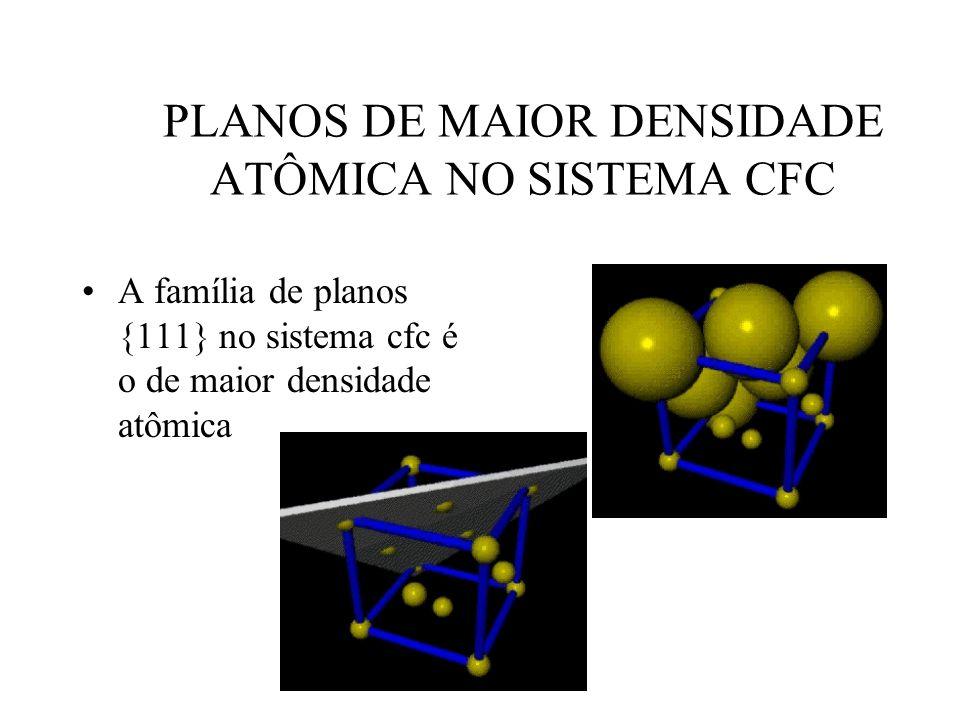 53 PLANOS DE MAIOR DENSIDADE ATÔMICA NO SISTEMA CFC •A família de planos {111} no sistema cfc é o de maior densidade atômica