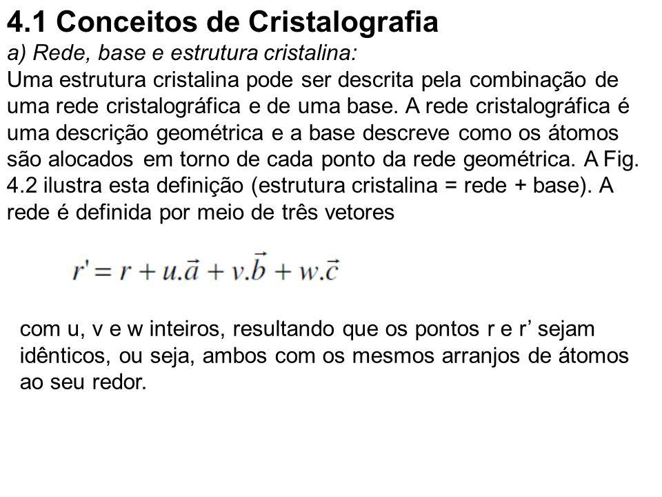 4.1 Conceitos de Cristalografia a) Rede, base e estrutura cristalina: Uma estrutura cristalina pode ser descrita pela combinação de uma rede cristalog