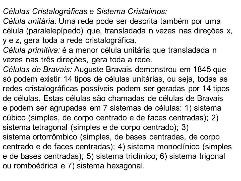 Células Cristalográficas e Sistema Cristalinos: Célula unitária: Uma rede pode ser descrita também por uma célula (paralelepípedo) que, transladada n