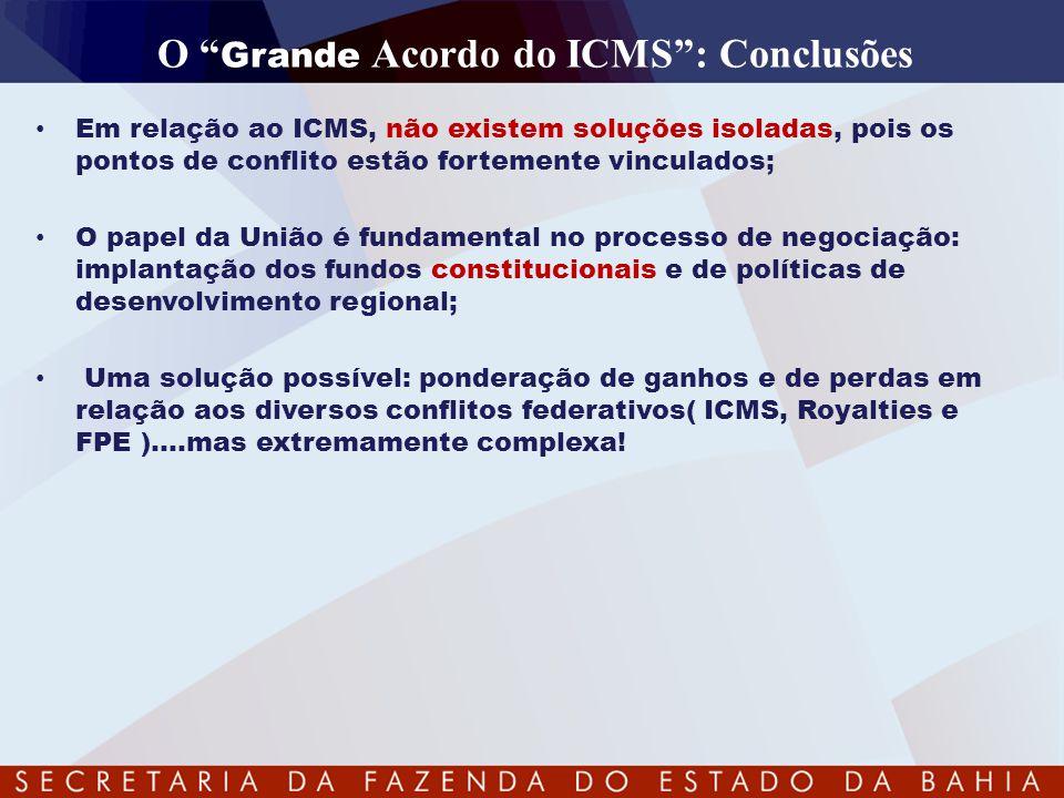 """O """" Grande Acordo do ICMS"""": Conclusões • Em relação ao ICMS, não existem soluções isoladas, pois os pontos de conflito estão fortemente vinculados; •"""