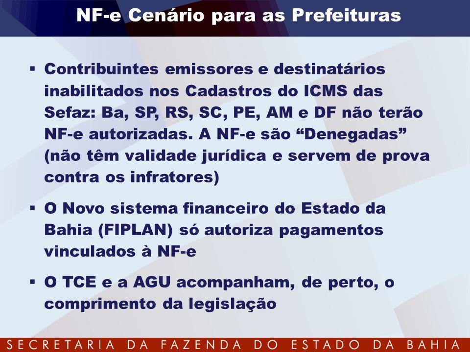 NF-e Cenário para as Prefeituras  Contribuintes emissores e destinatários inabilitados nos Cadastros do ICMS das Sefaz: Ba, SP, RS, SC, PE, AM e DF n