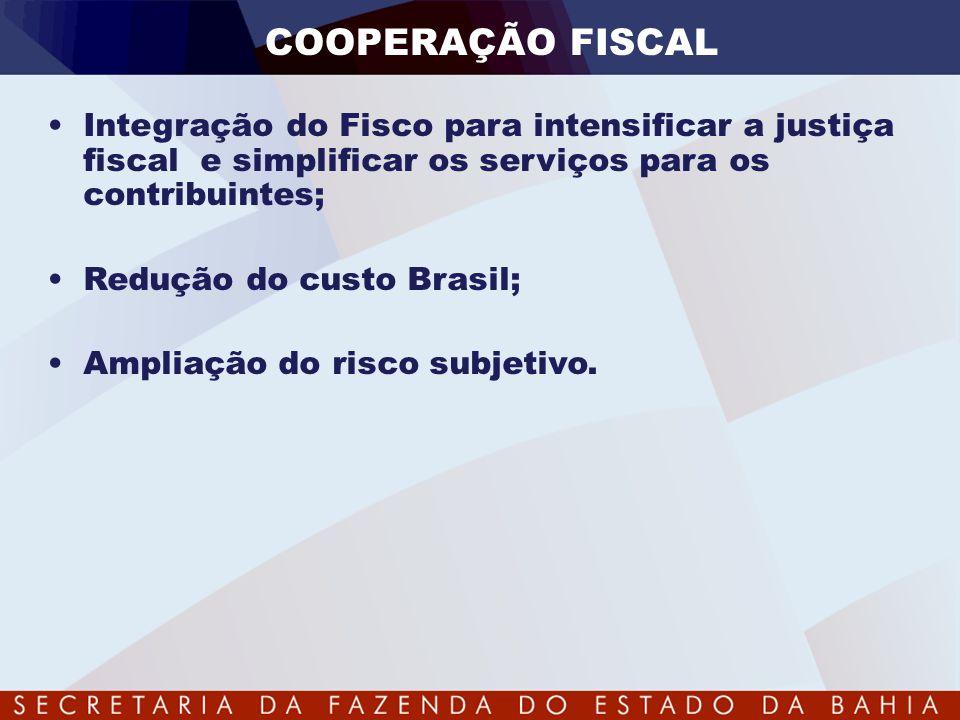 COOPERAÇÃO FISCAL •Integração do Fisco para intensificar a justiça fiscal e simplificar os serviços para os contribuintes; •Redução do custo Brasil; •