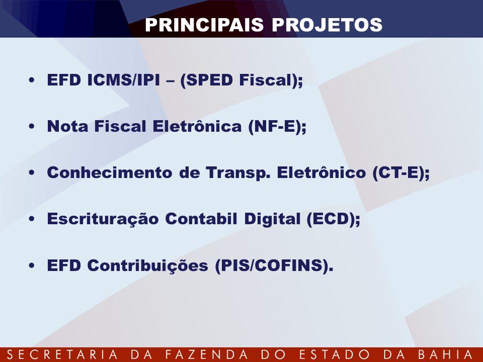 PRINCIPAIS PROJETOS •EFD ICMS/IPI – (SPED Fiscal); •Nota Fiscal Eletrônica (NF-E); •Conhecimento de Transp. Eletrônico (CT-E); •Escrituração Contabil