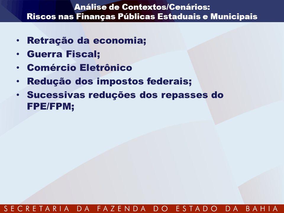 Análise de Contextos/Cenários: Riscos nas Finanças Públicas Estaduais e Municipais • Retração da economia; • Guerra Fiscal; • Comércio Eletrônico • Re