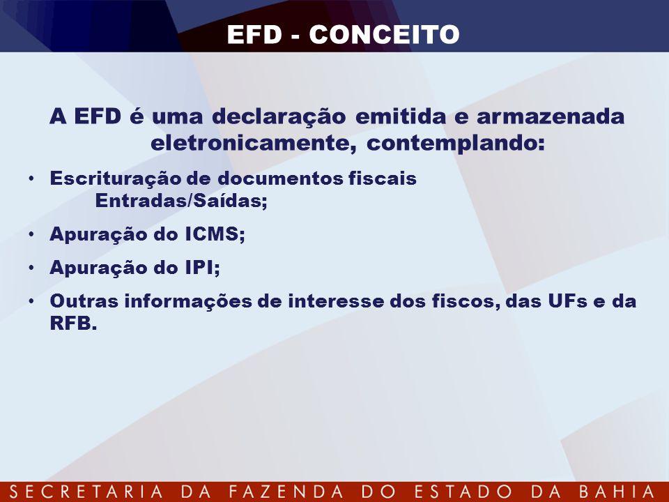 EFD - CONCEITO A EFD é uma declaração emitida e armazenada eletronicamente, contemplando: • Escrituração de documentos fiscais Entradas/Saídas; • Apur