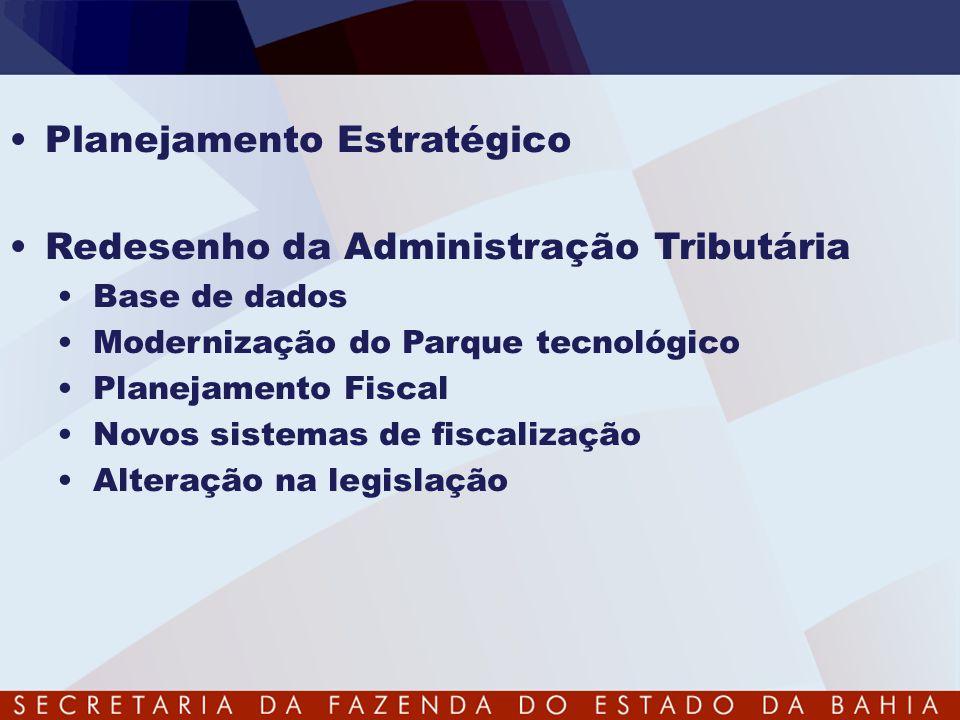 •Planejamento Estratégico •Redesenho da Administração Tributária •Base de dados •Modernização do Parque tecnológico •Planejamento Fiscal •Novos sistem