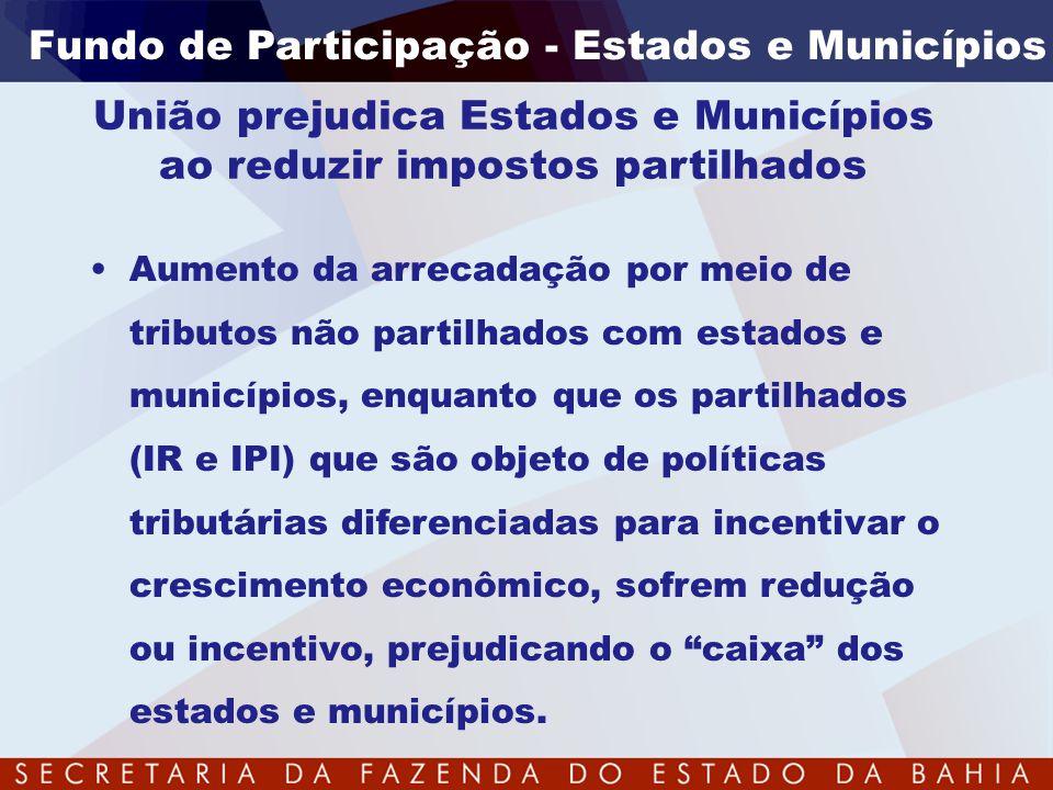•Aumento da arrecadação por meio de tributos não partilhados com estados e municípios, enquanto que os partilhados (IR e IPI) que são objeto de políti