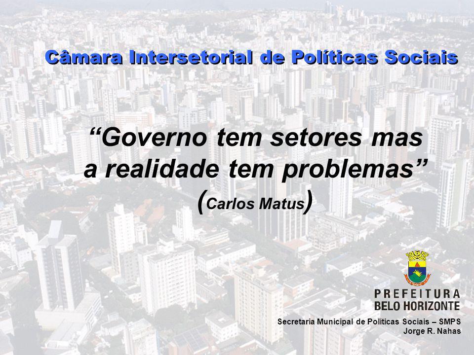 """Secretaria Municipal de Políticas Sociais – SMPS Jorge R. Nahas Câmara Intersetorial de Políticas Sociais """"Governo tem setores mas a realidade tem pro"""