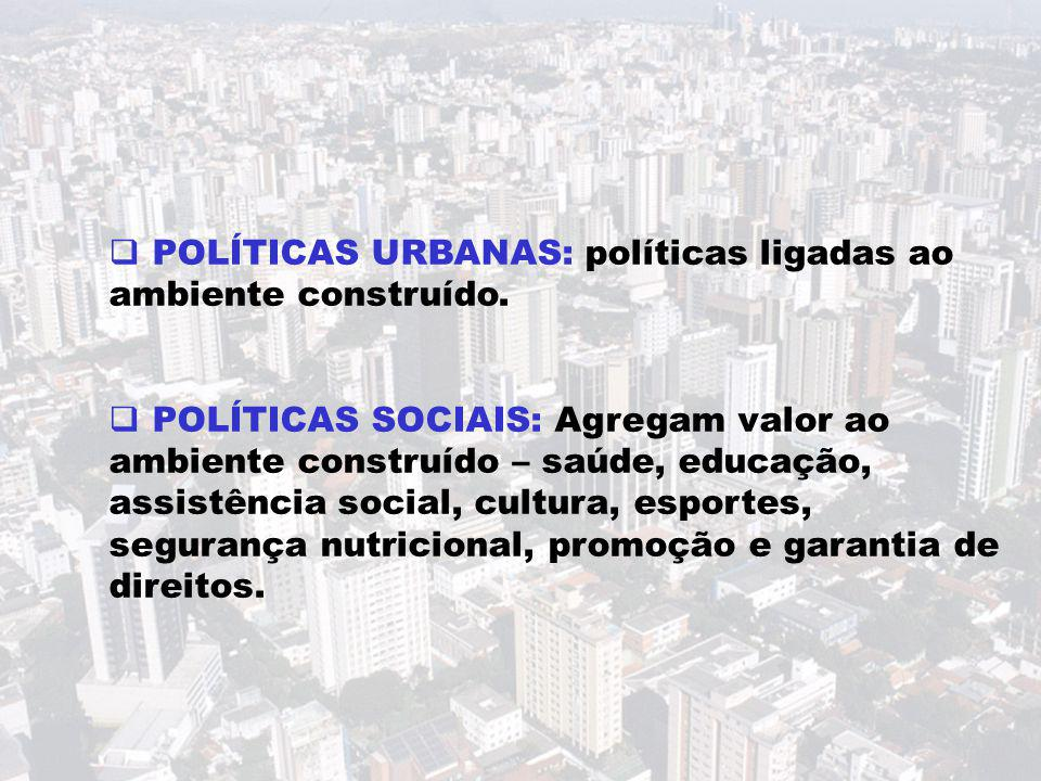  POLÍTICAS URBANAS: políticas ligadas ao ambiente construído.  POLÍTICAS SOCIAIS: Agregam valor ao ambiente construído – saúde, educação, assistênci