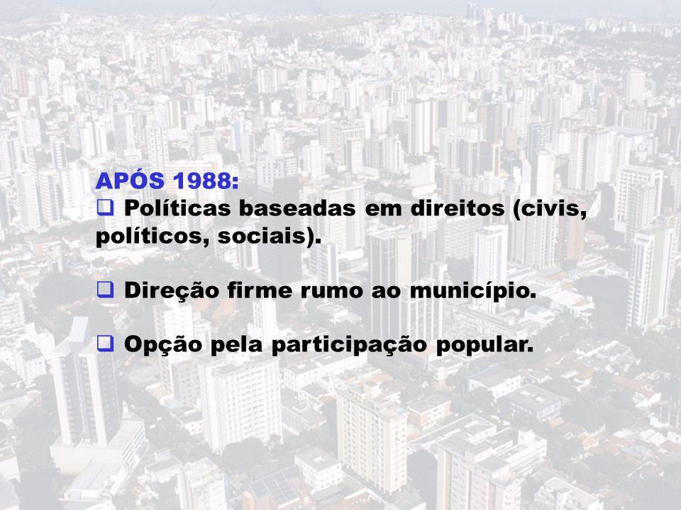 APÓS 1988:  Políticas baseadas em direitos (civis, políticos, sociais).  Direção firme rumo ao município.  Opção pela participação popular.