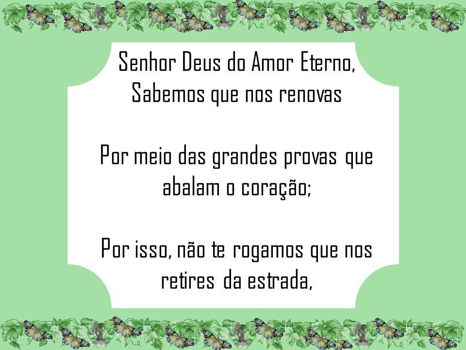 Senhor Deus do Amor Eterno, Sabemos que nos renovas Por meio das grandes provas que abalam o coração; Por isso, não te rogamos que nos retires da estrada,