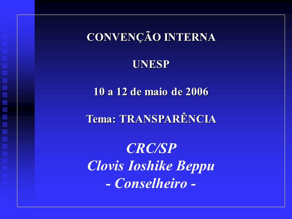 CONVENÇÃO INTERNA UNESP 10 a 12 de maio de 2006 Tema: TRANSPARÊNCIA CRC/SP Clovis Ioshike Beppu - Conselheiro -
