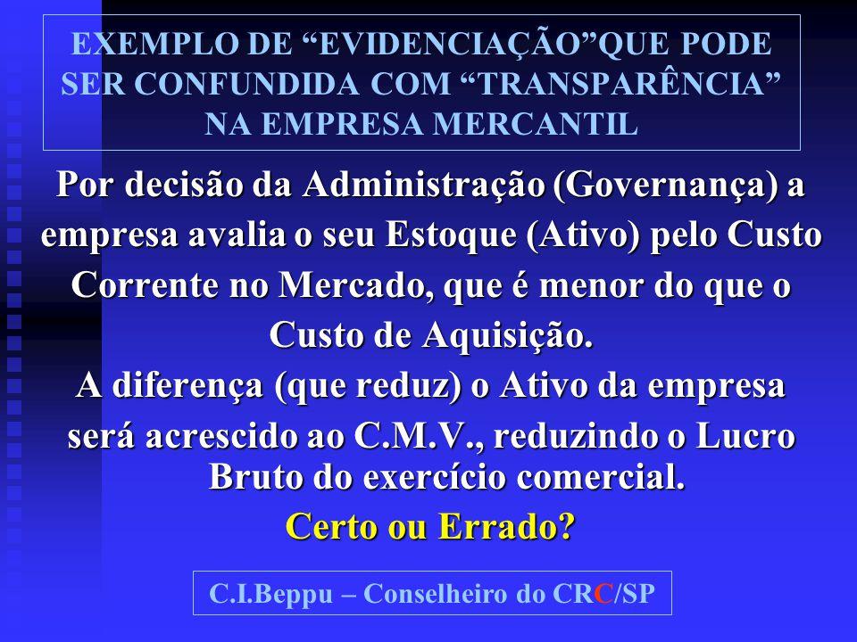 """EXEMPLO DE """"EVIDENCIAÇÃO""""QUE PODE SER CONFUNDIDA COM """"TRANSPARÊNCIA"""" NA EMPRESA MERCANTIL Por decisão da Administração (Governança) a empresa avalia o"""