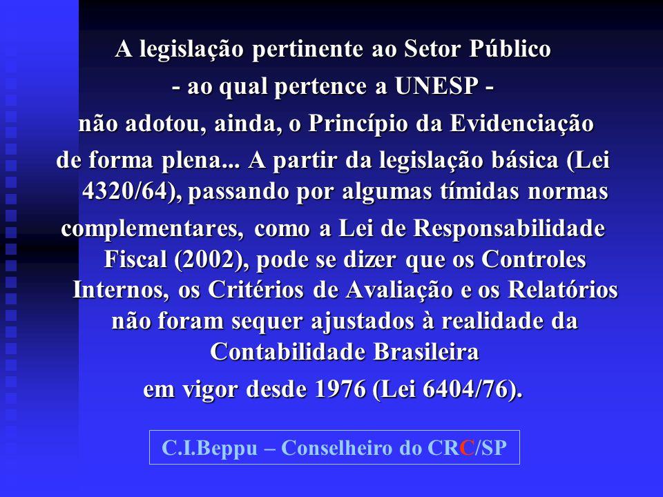 A legislação pertinente ao Setor Público - ao qual pertence a UNESP - não adotou, ainda, o Princípio da Evidenciação não adotou, ainda, o Princípio da