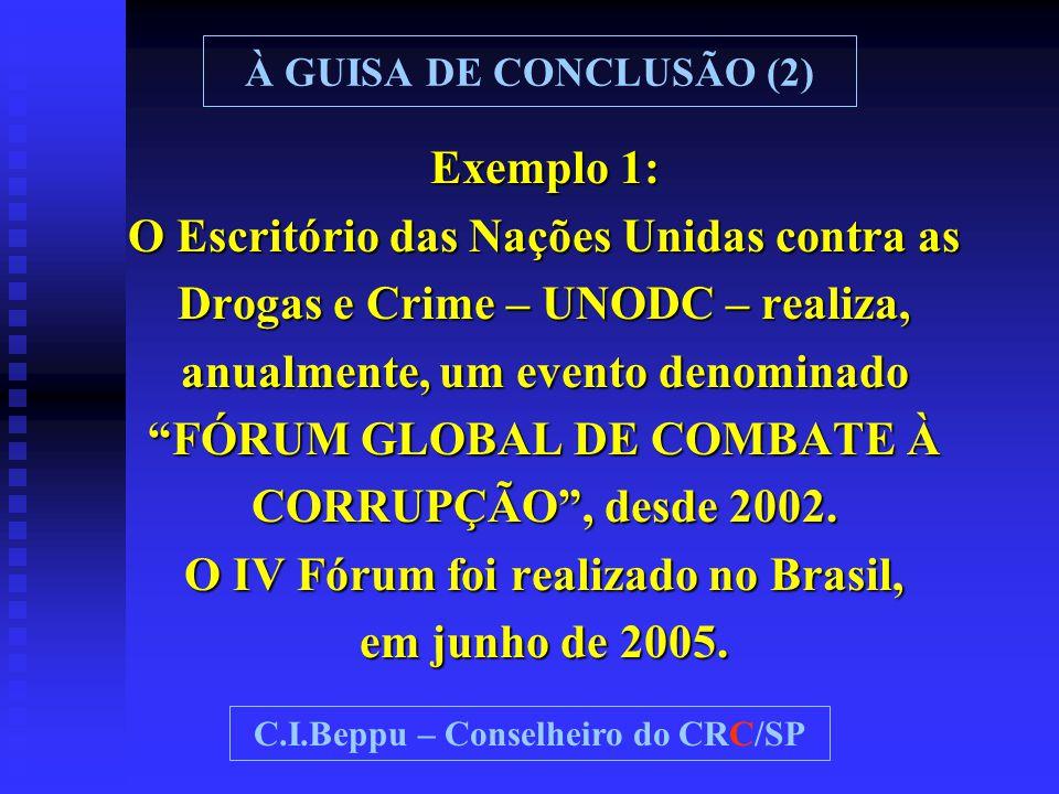 """Exemplo 1: O Escritório das Nações Unidas contra as Drogas e Crime – UNODC – realiza, anualmente, um evento denominado """"FÓRUM GLOBAL DE COMBATE À CORR"""